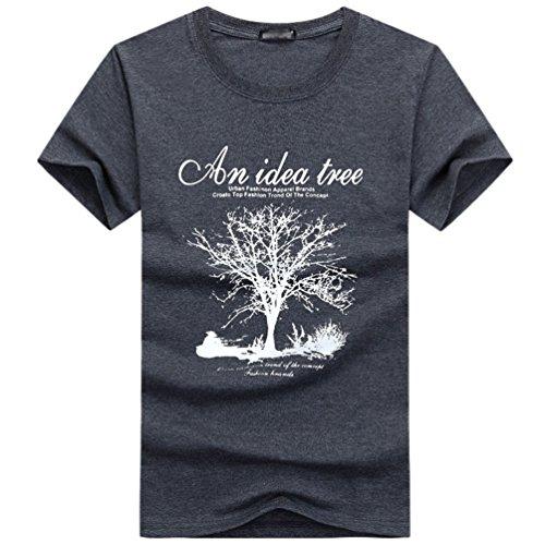 NiSeng Herren Kurze Ärmel T-Shirt Casual Rundhals Druck T-Shirt Mode Loose T-Shirt Dunkel Grau