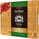Royal Craft Bois Bio en bambou Planche à découper avec Rigole, Meilleur de cuisine Planche à découper pour la viande (Bloc de boucher), du fromage et des légumes   Extra Large et épais   antibactérien Heavy Duty W/poignées