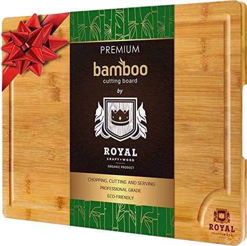 Royal Craft Holz Bio Bambus Schneidebrett mit Saftrille, Best Küche Schneidebrett für Fleisch (Butcher Block), Käse und Gemüse | Extra große & Dick | antibakteriell Robust W/Griffe -