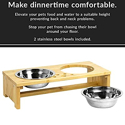 Maison & White Raised Double Pet Bowls | Dog/Cat 2 In 1 Food & Water Metal Bowls | Elevated Bamboo Non-Slip Stand Feeder | M&W from Xbite