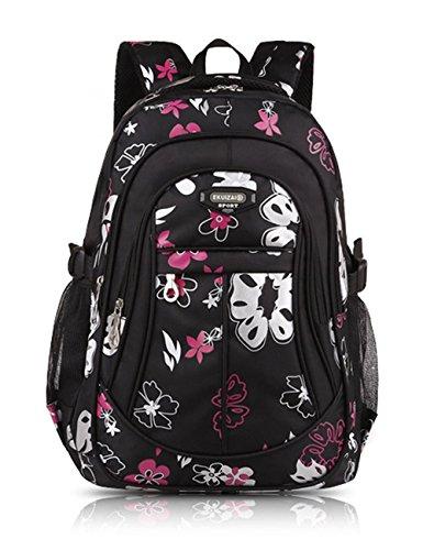 Mädchen Jungen Mädchen Rucksack Schulrucksack Ranzen Kinder Schulranzen Schultasche Rose rot Schwarz