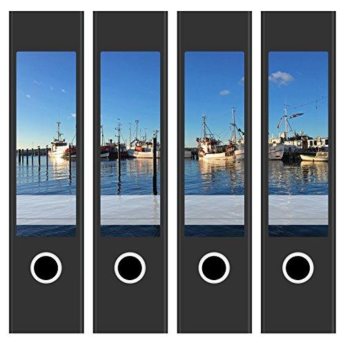 tten / Aufkleber / Rücken Sticker / mit Design Foto Motiv Boote im Hafen / für breite Ordner / selbstklebend / 6cm breit (Dekorative Ordner)