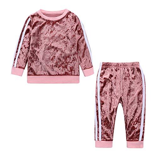 De feuilles Kinder Jogginganzug Streifen Sportanzug Jungen Mädchen Tainingsanzug 2 Stück Streifen Pullover Hose für Frühling Herbst Winter -