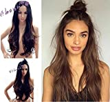 Vébonnie Chocolate Brown Lace Front Wigs for Black Women Rooted Ombre Black Brown Synthetic Hair Wigs for Ladies Natural Wavy Best Cheap Wigs uk Realistic Looking Parting Heat Safe