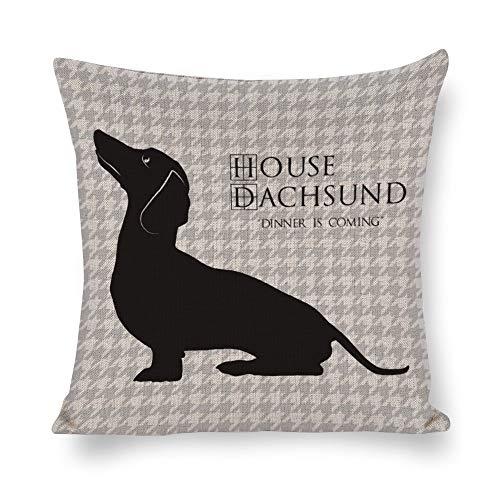 Mesllings Haus Dackel kommt mit Hahnentritt-Muster, dekorativer Überwurf, Baumwoll-Leinen, Kissenhülle für Sofa, Wohnzimmer, Familie, Büro 18x18
