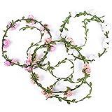 3 Stück Blumen Stirnband Blumenkrone Blumenkranz Haarbänder Haarkranz Kopfband Floral Girlande Kopfschmuck für Hochzeit Party Braut Frau Mädchen