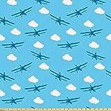 ABAKUHAUS Flugzeug Microfaser Stoff als Meterware,