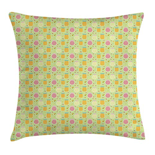 RAINNY Retro Throw Pillow Cushion Cover, Homemade Jam Pattern Various Fruits on Green Toned Background Breakfast Food, Decorative Square Accent Pillow Case, 18 X 18 Inches, Multicolor