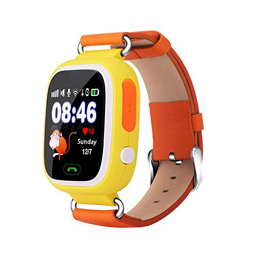 Witmoving Bambini Smart Watch Phone GPS SIM antifurto SOS Parent controllo da iPhone IOS Android Smartphone (Giallo con