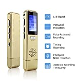 from MAOZUA Digital Voice Recorders, MAOZUA 8GB Professional Voice Recorder Rechargeable Voice-Activated Recording Audio Recorder Dictaphone with USB MP3 Player for Meetings Lectures Classes and Interviews - Gold Model KVR002