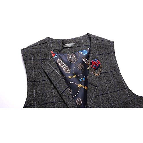 Weste Heren Tweed Vintage Hochzeit Business Slim Fit Blau Schwarz XS S M L 03Dunkelgrau