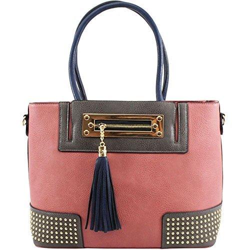 Haute For Diva S New Faux Leather Plug Nappa Decorazione Pannello Donna Tracolla - Beige, Grande Rosa
