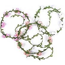 3pcs Coronas Diademas de Flores Guirnaldas de Flores Artificiales para el Pelo Tocados de Novia Decoración para Boda Fiesta Evento Celebración para Mujer Niña