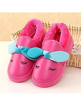 Y-Hui El Niño Bolsa con zapatillas de algodón y zapatillas de fondo grueso Antideslizante impermeable inferior...