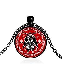 DADATU Halsketten für Herren Baphomet Teufel Glas Anhänger Halskette Vintage Schmuck Schwarze Kette Pagan Satan Halskette Für Frauen Männer Geschenk Kragen