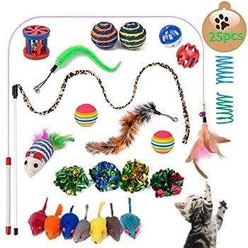 Yangbaga Jouet Chat lot - Jouer Chat - Souris Sisal, Boule Plume, Canne a Peche Inclus, Kitten Toys Variété Pack Chaton Chat (25pc)