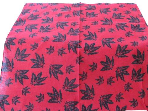 Bandana 100% coton Rouge avec design feuilles Noir. 55 x 55 cm x 55 cm. Idéal pour tous les jours usure, motards, etc..