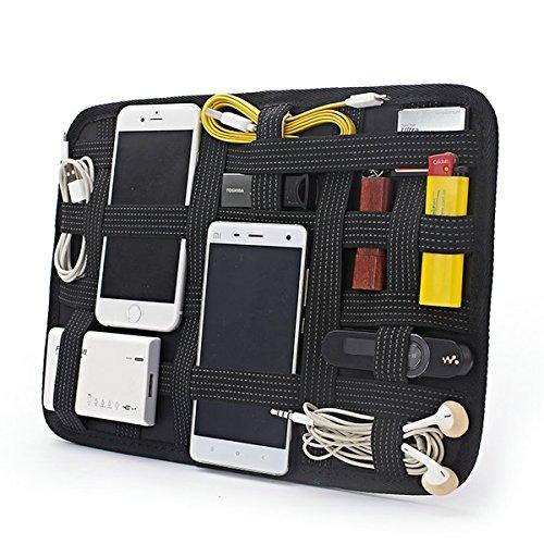 BeYself Elastic Storage Board 27 * 19cm Zubehör Organizer Mit Ihrem Geldbörse oder Reise Fall für Apple iPad / iPod / iPhone Zubehör und andere Telefon Tablet - Schwarz
