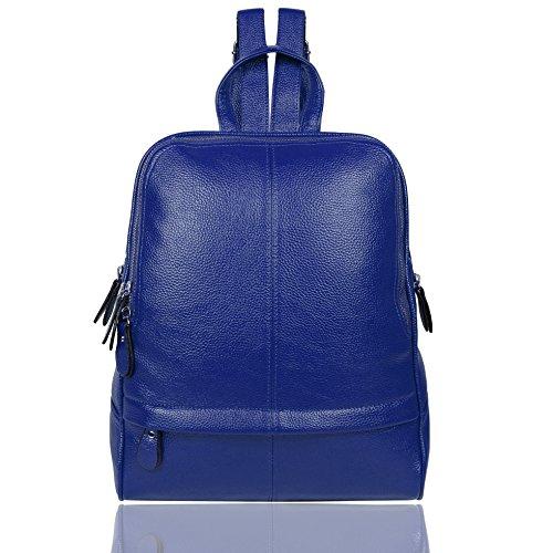 EGOGO Damen Rucksack Leder Rucksack Daypack Schultertasche Reiserucksack Schulrucksäcke für Frauen Mädchen E530-5 (Blau)