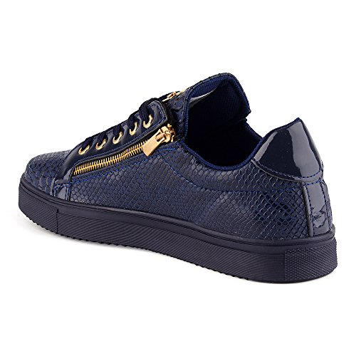 FiveSix Herren Sneaker Sportschuhe Schnürschuhe Schlangenoptik Freizeitschuhe Reißverschluss Lack Low Top Schuhe Blau