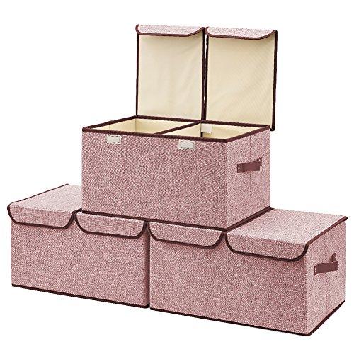 3-Pack Aufbewahrungsbox mit Deckel, EZOWare Cube Aufbewahrungskorb Ordnungsystem Stauraum Boxen Körbe Kisten ( Weinrot ) – 45 x 30 cm