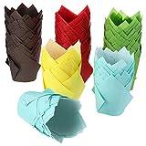 TecUnite 200 Pezzi Tulip Cupcake Tazze di Cottura della Fodera Cupcake di Carta e Tazze da Forno per Muffin per Matrimonio e Compleanno (Marrone, Rosso, Giallo, Blu, Verde)