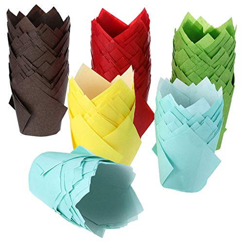 TecUnite 200 Stück Tulpe Cupcake Liner Backförmchen Papier Cupcake Und Muffin Backförmchen für Hochzeiten Und Geburtstag (Braun, Rot, Gelb, Blau, Grün)