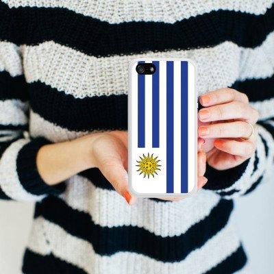 Apple iPhone 5s Housse Étui Protection Coque Uruguay Drapeau Ballon de football Housse en silicone blanc