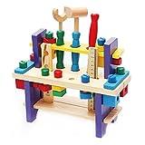 BigNoseDeer Cassetta degli Attrezzi Strumenti di Legno Giocattolo Set Workbench Costruzione Carpenterie Kit di Lavorazione del Legno Istruzione intellettuale per i Bambini