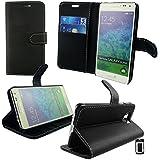 Emartbuy® Samsung Galaxy Alpha SM-G850 Brieftaschen Wallet Etui Hülle Case Cover aus PU Leder Schwarz Mit Kreditkartenfächern