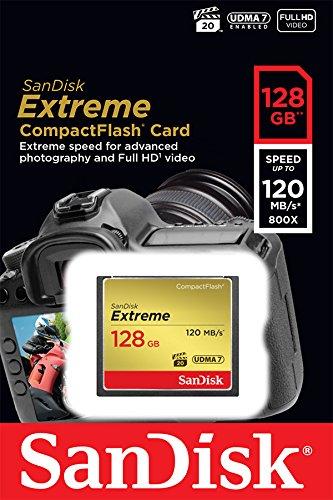 Sandisk sdcfxsb-128g-ffp extreme compactflash scheda di memoria 128gb udma-7 120mb/s [imballaggio apertura facile di amazon]