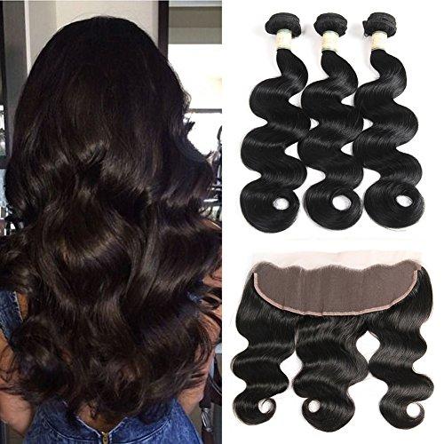 Morichy Brazilian Human Hair 3 Bundles with Lace Closure For Black Women 100% Unprocessed Brazilian Virgin Hair Body Wave Bundles With Closure (4X4) with Baby Hair Natural Color 10 10 10+ 10