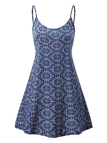 MSBASIC Ärmelloses, verstellbares Riemchensommer Strand Swing Kleid für Damen 17147-12 Large