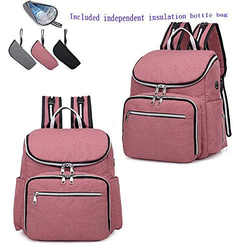 Unbekannt Mali Mode Rucksack USB Multifunktional Einfarbig Mamabeutel Reisetasche 30 * 16 * 35 cm,Pink
