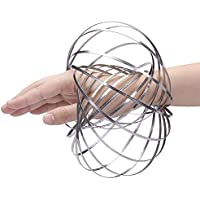 Right Goods Right Price Magic Kinetic Flow Ring Rings Silver 3D Spring Stainless Steel Toys Funny Kinetic Spring Infinity Arm Slinky Juggle Dance