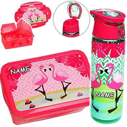 alles-meine.de GmbH Set: XL - Brotdose + Tritan Trinkflasche -  Flamingo - Vögel  - inkl. Name - BPA frei - mit extra Einsatz / 3 herausnehmbare Fächer - Lunchbox Bento Box - W..