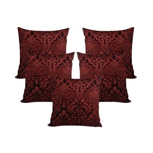 MSenterprises Brown Burnt Velvet Ambose Cushion Covers Pack of 5 (24x24 Inch...