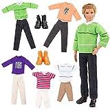 Villavivi 7 PCS Accessori Per Bambola Maschio Ken Dolls Fidanzato Di Barbie: 5 PCS Abiti Vestiti Pantaloni + 2 PCS Scarpe Per KEN Dolls