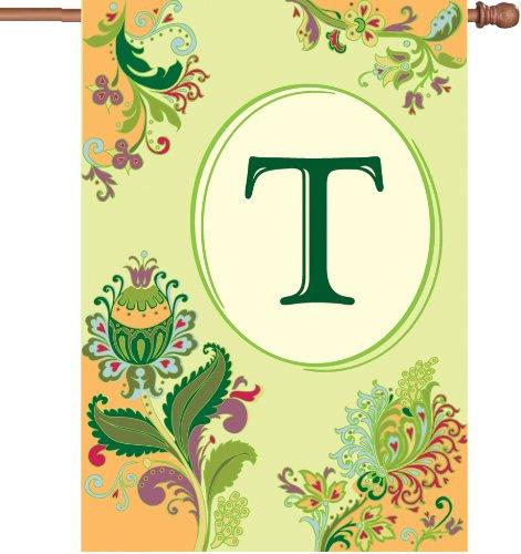 �Spring Monogramm House Flagge, Buchstabe T, 71cm (Halloween-kostüme Buchstaben T)