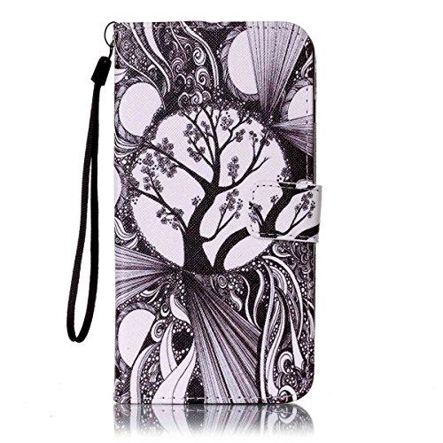 Ekakashop Custodia iphone 7 plus 5.5 inch, Cover iphone 7 plus 2016 model, Elegante borsa Custodia in Pelle Protettiva Flip Portafoglio libro Case Cover per Apple iphone 7 plus 5.5 inch / con Carte Sl Albero Nero-Bianco