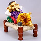 Creativity Creations Resin Ganpati Ganesha Resting on Cot Charpai (Cord-8x5x3inche, Idol-7.5x5.5x5inches, Multicolour)