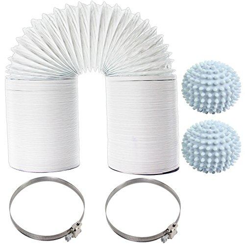 Spares2go Universal sèche linge extra long Tuyau d'aération 10 m Tuyau, adoucissant Balles et colliers de serrage (10,2 cm/100 mm)