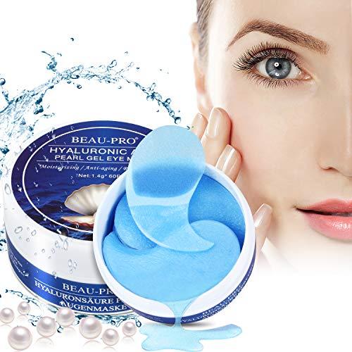 Eye Mask, Augenpads Anti Aging Pads hyaluron Collagen Maske-eye pads Kollagen Augenpads Gel Wasserlösliches mit Pearl powder und Hyaluronsäure für augenringe, Falten, Feine Linien, 60pcs