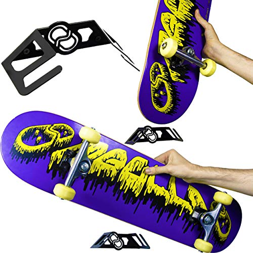 MEOLLO Vertikale und horizontale Halterung Hänger für Skateboard (100{789d8297746eb329d147adc65a6a82dff099efa85dad8fef822b4b56fe0a28ed} Stahl) (2 X Schwarz)