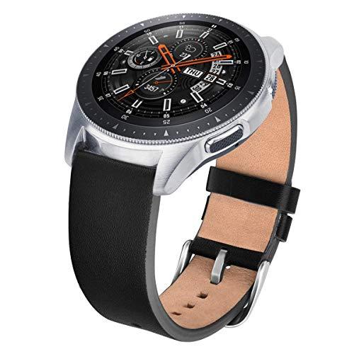 V-MORO Galaxy Watch 46mm Armband, Echtes Leder Smart Uhrenarmband Armbands Ersatz Armband Bänder für Samsung Galaxy Watch 46mm Fitness Smart Uhr(Black) (Watch Band Leder Smart)