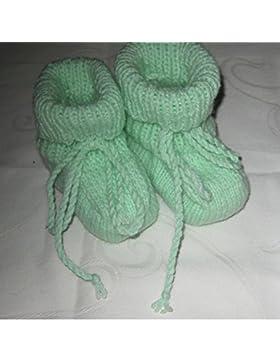 Handarbeit Taufgeschenk Babyschuhe Taufschuhe Puschen Erstlingsschuhe gestrickt Mit schnürbarem hohem Bündchen...