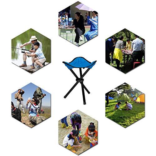 51OY56fYvAL - COVVY Outdoor Dreibeinhocker, tragbar, faltbar, klein, 3-beinig, Canvas, für Wandern, Camping, Angeln, Picknick, Strand, Grillen, Reisen, Rucksackreisen, Gartensitz, blau