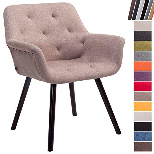 Clp sedia attesa cassidy in tessuto e legno | poltroncina imbottita conferenze, con braccioli, alt. seduta 45 cm i portata max 150kg tortora base legno color caffè