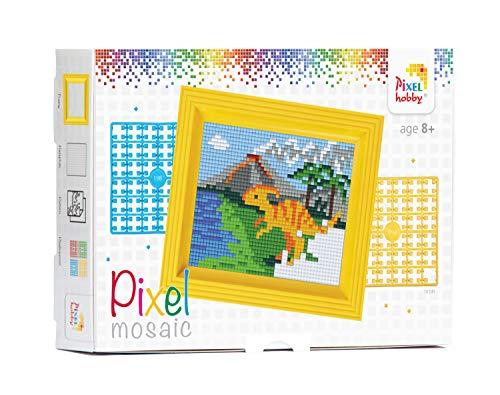 Pracht Creatives Hobby P31256 - Pixel Mosaik Geschenkverpackung, Dinosaurier, Pixelbild mit Rahmen zum Gestalten für Kinder, Jungen und Mädchen, als kleines Geschenk, Mitgebsel, Kindergeburtstag
