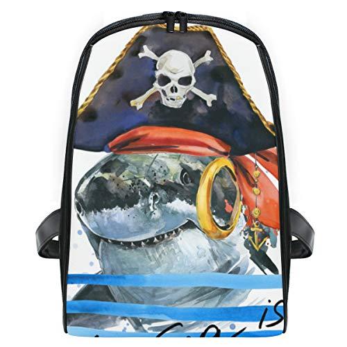 KISSENSU Haifisch-Piraten-Kostüm-Aquarell-Illustration,Laptop Rucksack für Männer Schulrucksack Multifunktionsrucksack Mini Tagesrucksack für Schule Wandern Reisen - Professionelle Piraten Kostüm